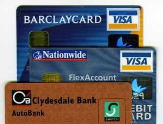 Credit-card-and-bank-cards-UK-issued-Barclaycard-VISA-Nationwide-VISA-debit-Clydesdale-Switch-DHD