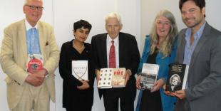 130925 Samuel Johnson Prize judges with shortlist - Cropped further